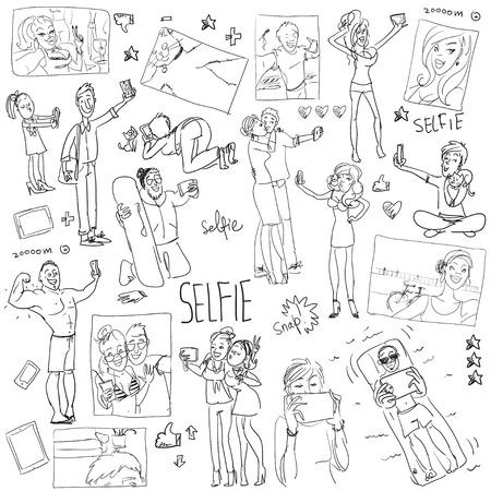 People taking a selfie. Cartoon funny doodles, set