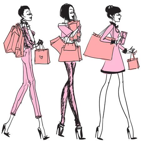 chicas comprando: Muchachas bonitas con bolsas de la compra, dibujado a mano vector
