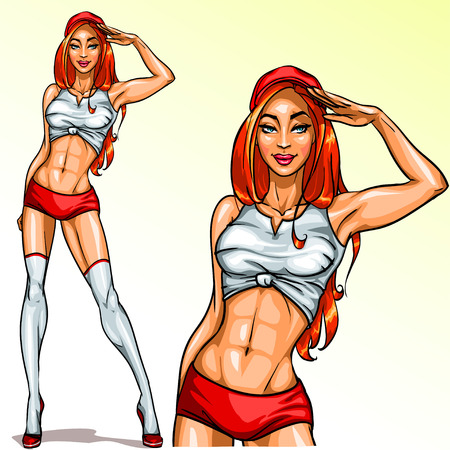 nude girl: Sexy Red Hair Pin Up Girl, Isolated Illustration