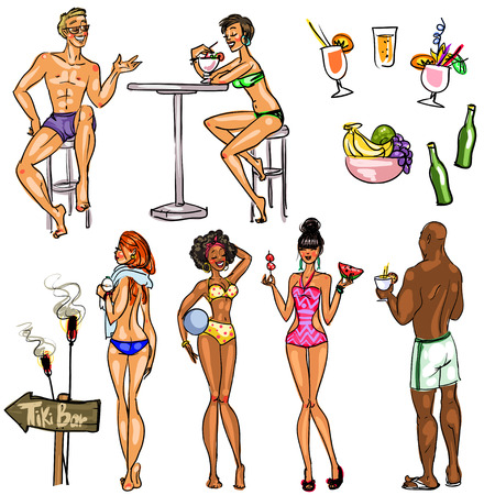 sexy brunette woman: Tiki Bar Collection, Hand drawn vector, isolated on white