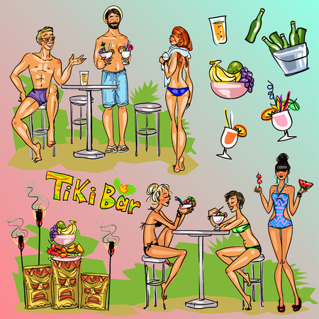 sexy brunette woman: Tiki Bar Collection, Hand drawn vector, clipart