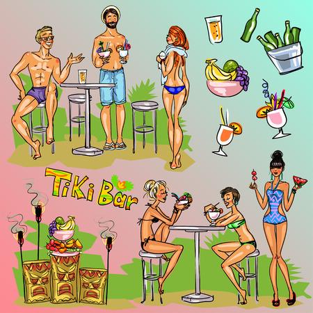 Tiki Bar Collection, Hand drawn vector, clipart
