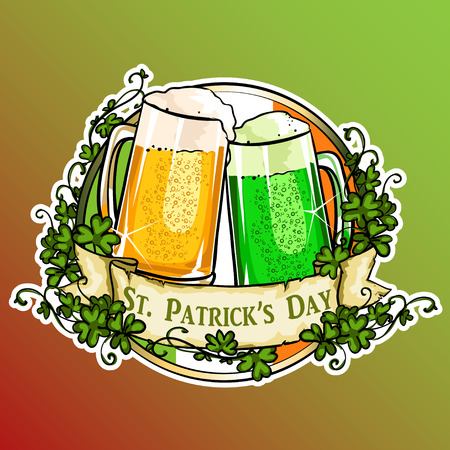 irish pub label: St. Patricks Day label with ribbon banner and sample text. Illustration