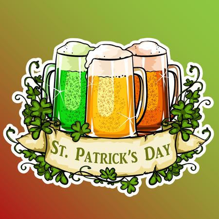 irish pub label design: St. Patricks Day label with ribbon banner and sample text. Illustration