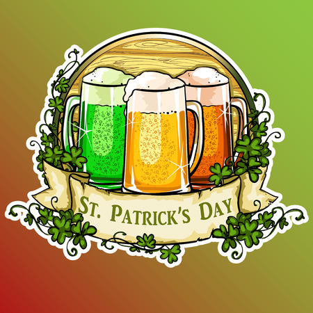 irish beer label: St. Patricks Day label with ribbon banner and sample text. Illustration