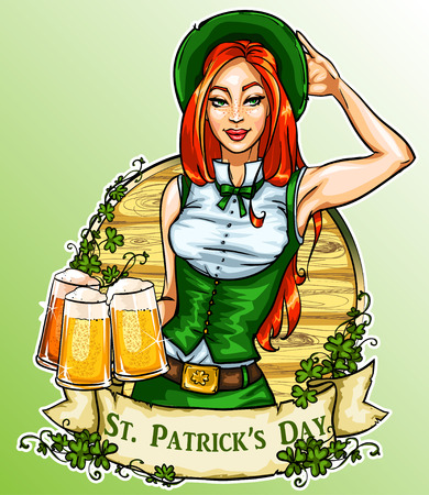 St. Patricks Day label with pretty Irish Girl, ribbon banner and sample text