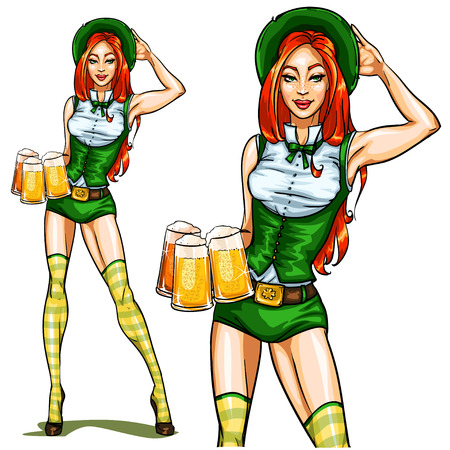 pin up: Beautiful Irish Girl with beer, isolated on white