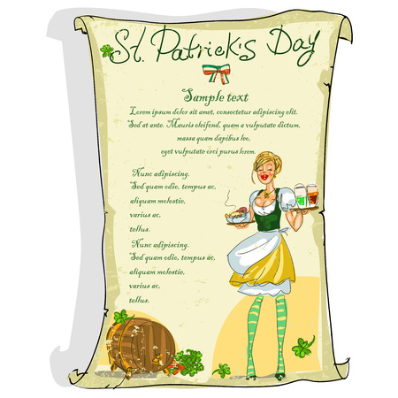 irish woman: St. Patricks Day poster with space for text Illustration