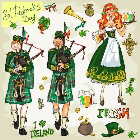 gaita: St. Patricks Day - colección de arte clip de dibujado a mano. Doodles, aislado Vectores