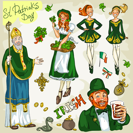 clover face: St. Patricks Day - hand drawn clip art collection. Doodles, isolated