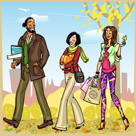 fashion shopping: Happy people with shopping bags, Autumn park