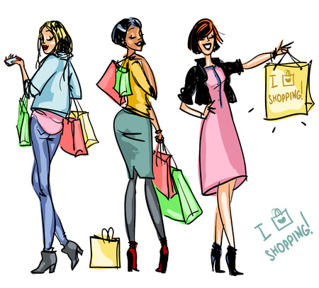 Pretty girls with shopping bags, set if illustrations