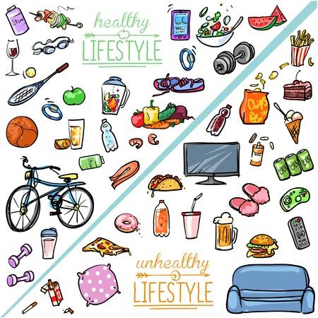 라이프 스타일: 건강에 해로운 라이프 스타일 VS 건강한 라이프 스타일. 손으로 그린 만화 모음