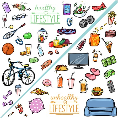 alimentacion balanceada: Estilo de vida saludable vs no saludable estilo de vida. Colecci�n de dibujos animados dibujados mano Vectores