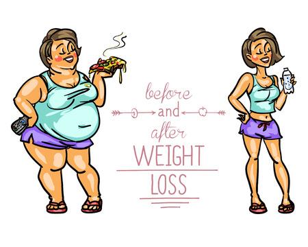 Mujer antes y después de la pérdida de peso. Divertidos personajes de dibujos animados Foto de archivo - 43560184