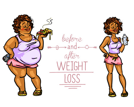 Woman before and after weight loss. Cartoon funny characters Illustration