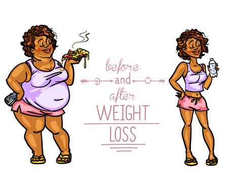 deportes caricatura: Mujer antes y después de la pérdida de peso. Divertidos personajes de dibujos animados