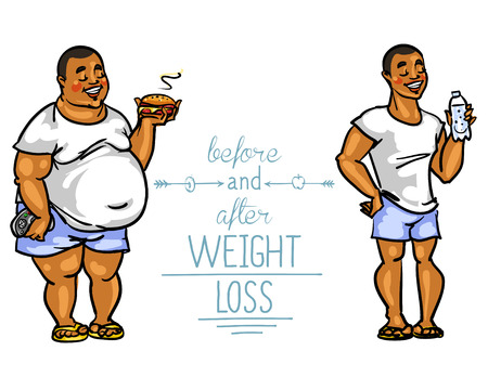 change size: Man before and after weight loss. Cartoon funny characters