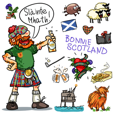 Bonnie Scotland cartoon collection, funny Scottish man with whiskey Vectores