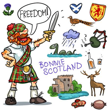 Colección de dibujos animados Bonnie Escocia, hombre escocés divertido con la espada Foto de archivo - 43561333
