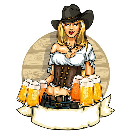 west: Pretty cowgirl with beer mugs, label with pin up girl and ribbon banner, isolated on white
