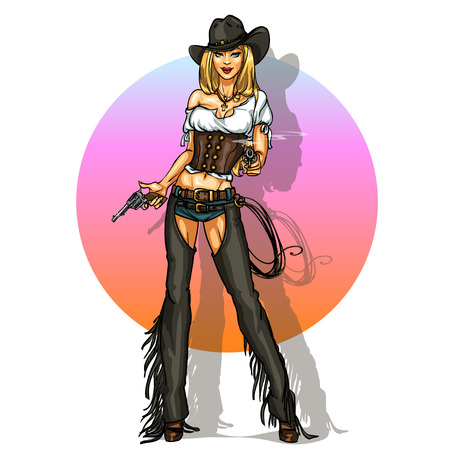 pin up: Pretty Pin Up cowgirl with guns, isolated on white Illustration