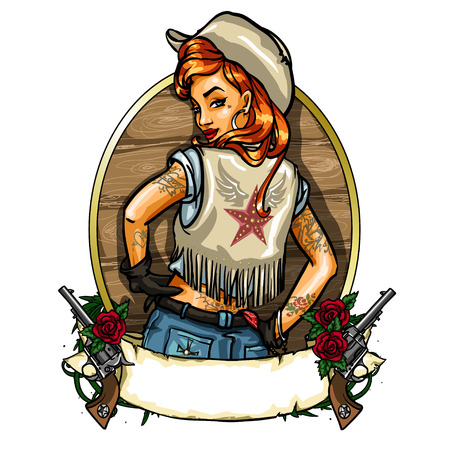Cowgirl label with ribbon banner, guns and space for text Illustration