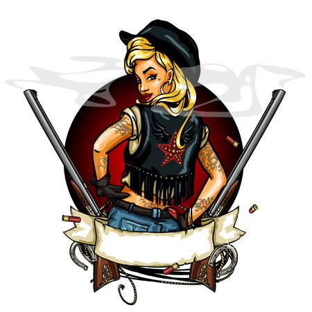 cowgirl: Cowgirl label with ribbon banner, guns and space for text Illustration