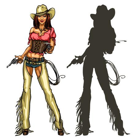 mujer con pistola: Vaquera bonita con armas de fuego, colorido Ilustraci�n y la silueta aislado en blanco