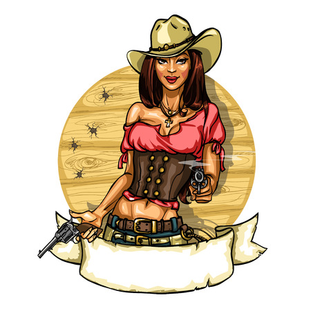 cowboy up: Pretty cowgirl with guns, label with pin up girl and ribbon banner, isolated on white