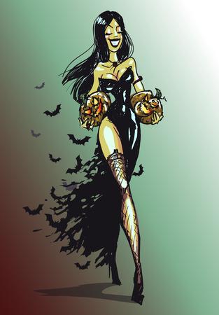 Bruja de Halloween con calabaza caminar. Aislado, dibujado a mano vector Foto de archivo - 43562878