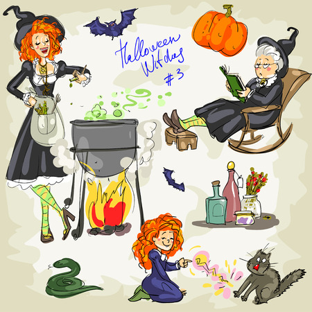 play poison: PrintHalloween Witches - 3. Hand drawn collection of witches and witch craft items