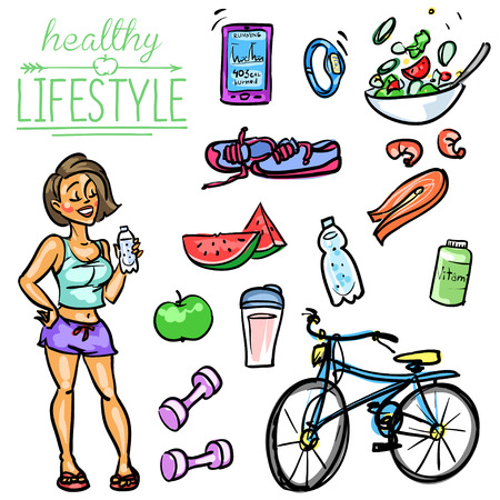 girl drinking water: Hand drawn vector collection of Healthy Lifestyle foods and sports Illustration