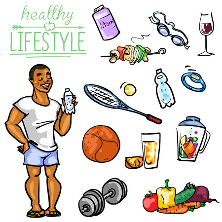Hand drawn vector collection of Healthy Lifestyle foods and sports Vettoriali