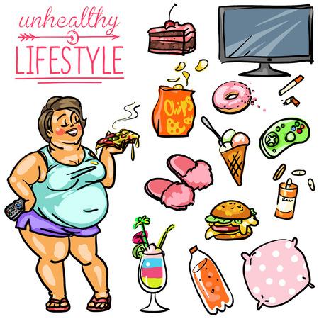unhealthy lifestyle: Unhealthy Lifestyle. Hand drawn cartoon collection, clip-art