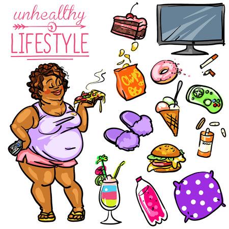 unhealthy: Unhealthy Lifestyle. Hand drawn cartoon collection, clip-art