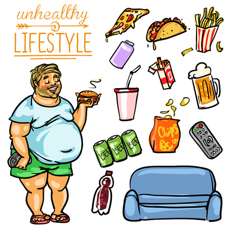 Unhealthy Lifestyle. Hand drawn cartoon collection, clip-art