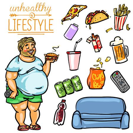 hombre caricatura: Estilo de vida poco saludable. Mano colecci�n de dibujos animados dibujado, clip-art Vectores