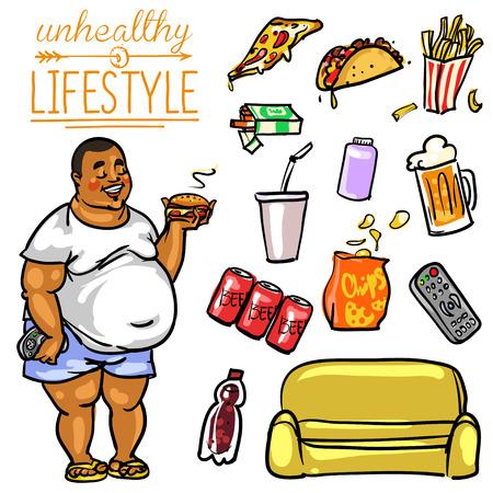 unhealthy: Estilo de vida poco saludable. Mano colecci�n de dibujos animados dibujado, clip-art Vectores