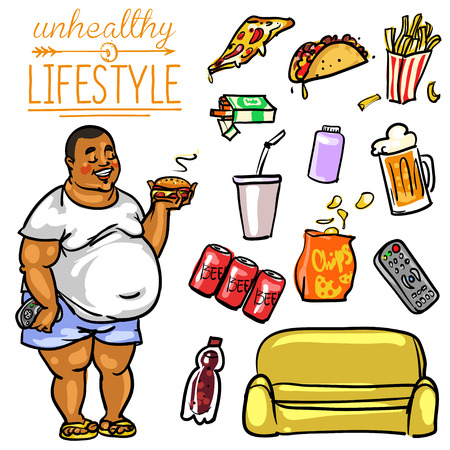 beer belly: Unhealthy Lifestyle. Hand drawn cartoon collection, clip-art