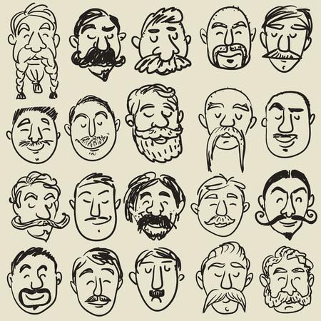 bigote: Colecci�n de rostros masculinos con diferentes tipos de bigote