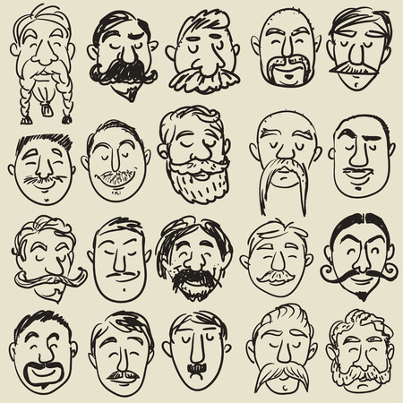 black head and moustache: Collection of male faces with different kind of mustache