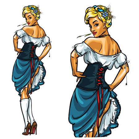 Pretty Bavarian girl, Oktoberfest Pin Up Isolated on white Çizim