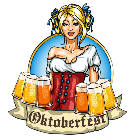 Pretty Bavarian girl with beer, Oktoberfest label with ribbon banner and space for text, isolated