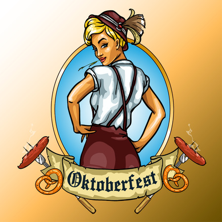oktoberfest beer: Pretty Bavarian girl, Oktoberfest label with ribbon banner and space for text, isolated Illustration