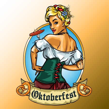 Pretty Bavarian girl eating sausage, Oktoberfest label with ribbon banner and space for text, isolated