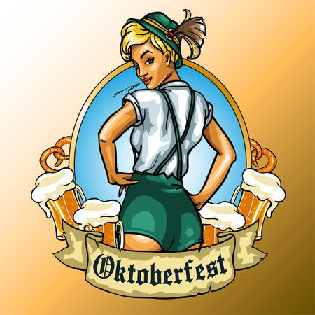 Jolie fille avec de la bière bavaroise autour, étiquette Oktoberfest avec ruban bannière et espace pour le texte, isolé Vecteurs