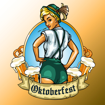 Pretty Bavarian girl with beer around, Oktoberfest label with ribbon banner and space for text, isolated Çizim