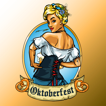 bavarian girl: Pretty Bavarian girl with beer, Oktoberfest label with ribbon banner and space for text, isolated