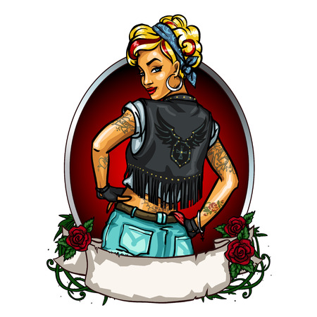 Pretty Pin up girl label with ribbon banner isolated